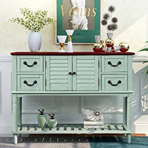 LUMISOL Console Table Sideboard Entryway Sofa Table with 4 Storage Drawers, Shutter Doors and Bottom Shelf (Antique Blue)