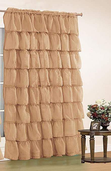 Orlys Dream Gypsy Crushed Ruffled Sheer/Voile 1 Curtain Panel - 55 Inch Width By