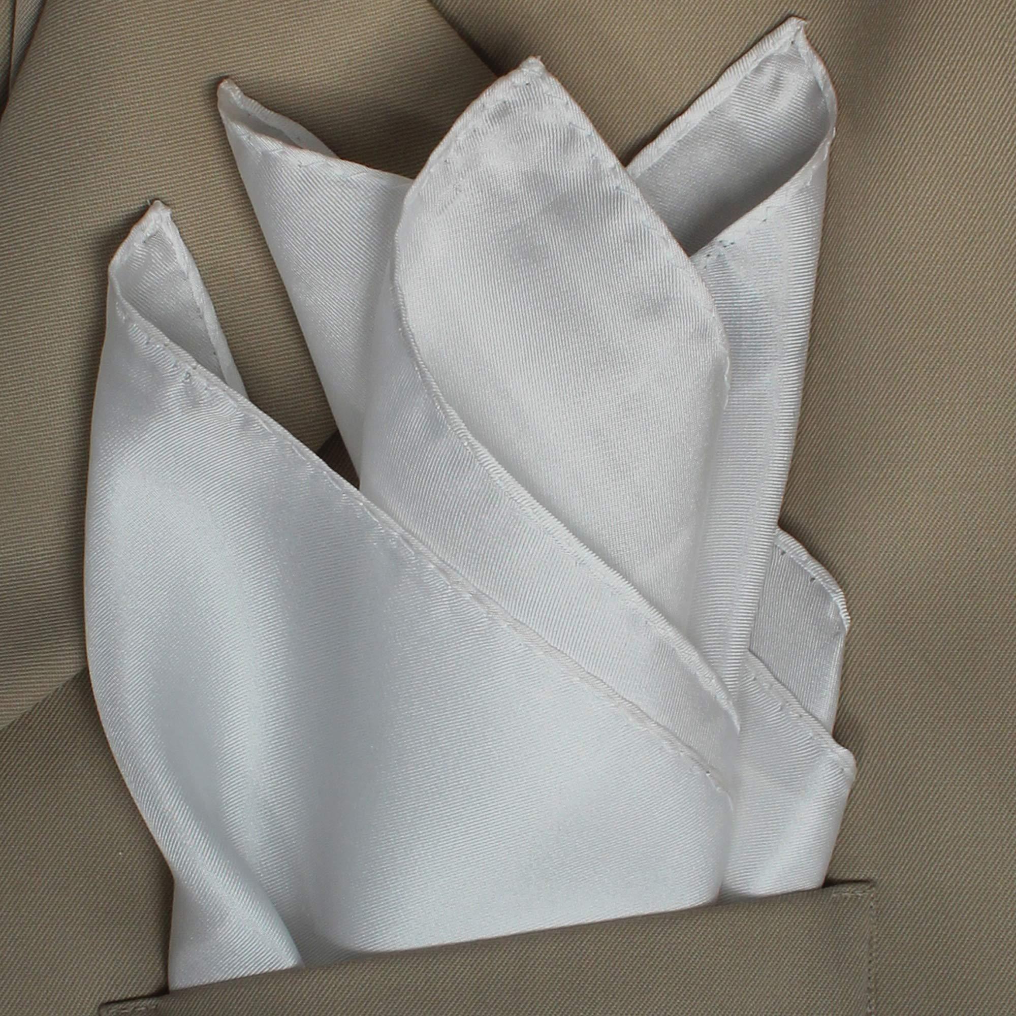 Fine White Silk Pocket Square by Royal Silk - Full Sized 17'' x 17''