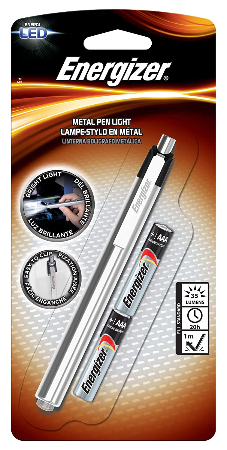 Energizer Aluminum Pen LED Flashlight, Two AAA Batteries (PLED23AE)