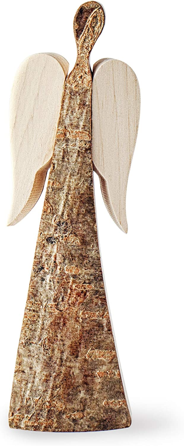 Forest Decor Rustic Wood Angel with Wings, Finished and Unfinished Bark, Decorative Home and Living Room Holiday or Christmas Decor, Classic Handmade German Craftsmanship (Small) (Small)