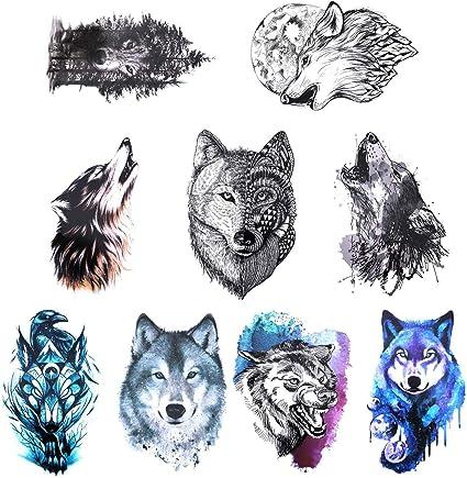 Gwolf 9hojas de tatuaje de lobo temporal, personalidad pegatinas ...
