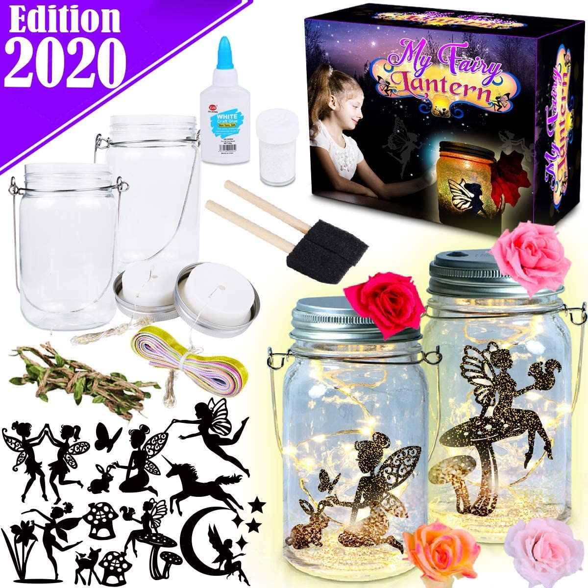 FunzBo Fairy Lantern Craft Kit for Kids - Arts and Crafts Jar Nightlight for Girls Age 6 7 8 9 10 Year Old Christmas Halloween Decorations Supplies Gift - Indoor Outdoor Garden DIY Deco Art Project