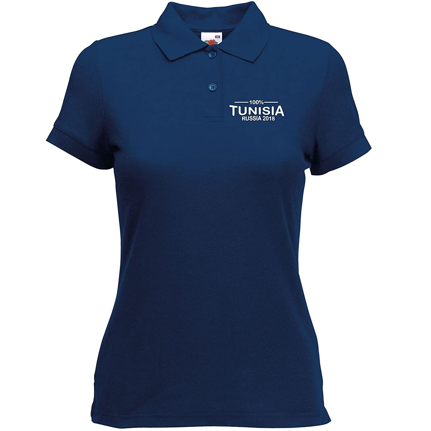 eca7953bb10 Novelty Polo's 100% Tunisia Football World Cup 2018 Polo Ladies Navy:  Amazon.co.uk: Clothing