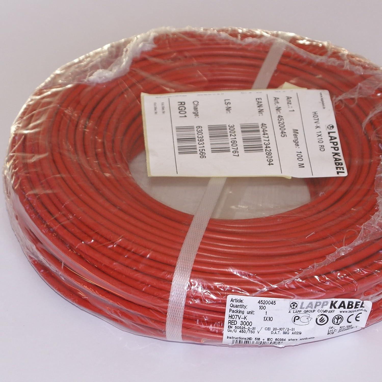 Lapp Flexible Verdrahtungsleitung H07v K Rd 1 X 10 Mm Rot Meterware Baumarkt