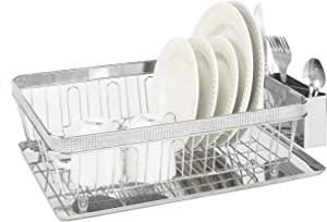 Kitchen Details Tray Dish Drying Rack with Drain Board, Utensil Holder, Countertop, Pave Diamond Design Collection, Chrome