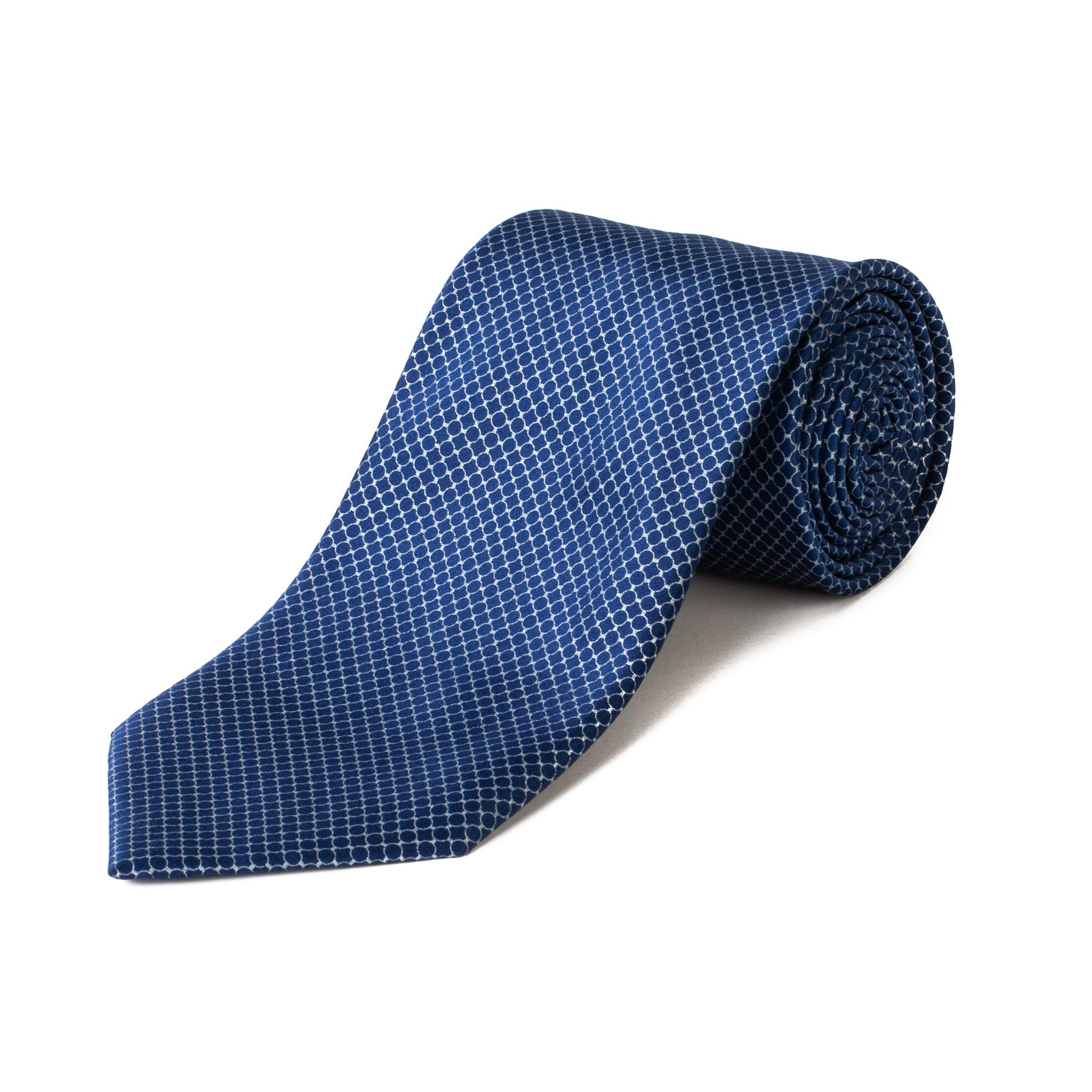 Brioni Men's Silk Circle Pattern Tie Blue/Silver
