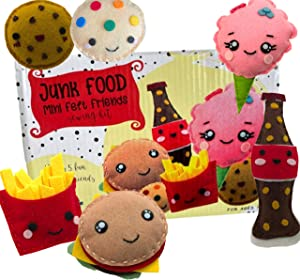 Madam Posy Design Junk Food Sewing Kit for Kids; DIY Art and Craft Kits for Girls; Beginner Sewing Kit for Mini Felt Food Plush Crafts; Fun Creative Art Projects for Girls and Boys Ages 8 9 10 11 12