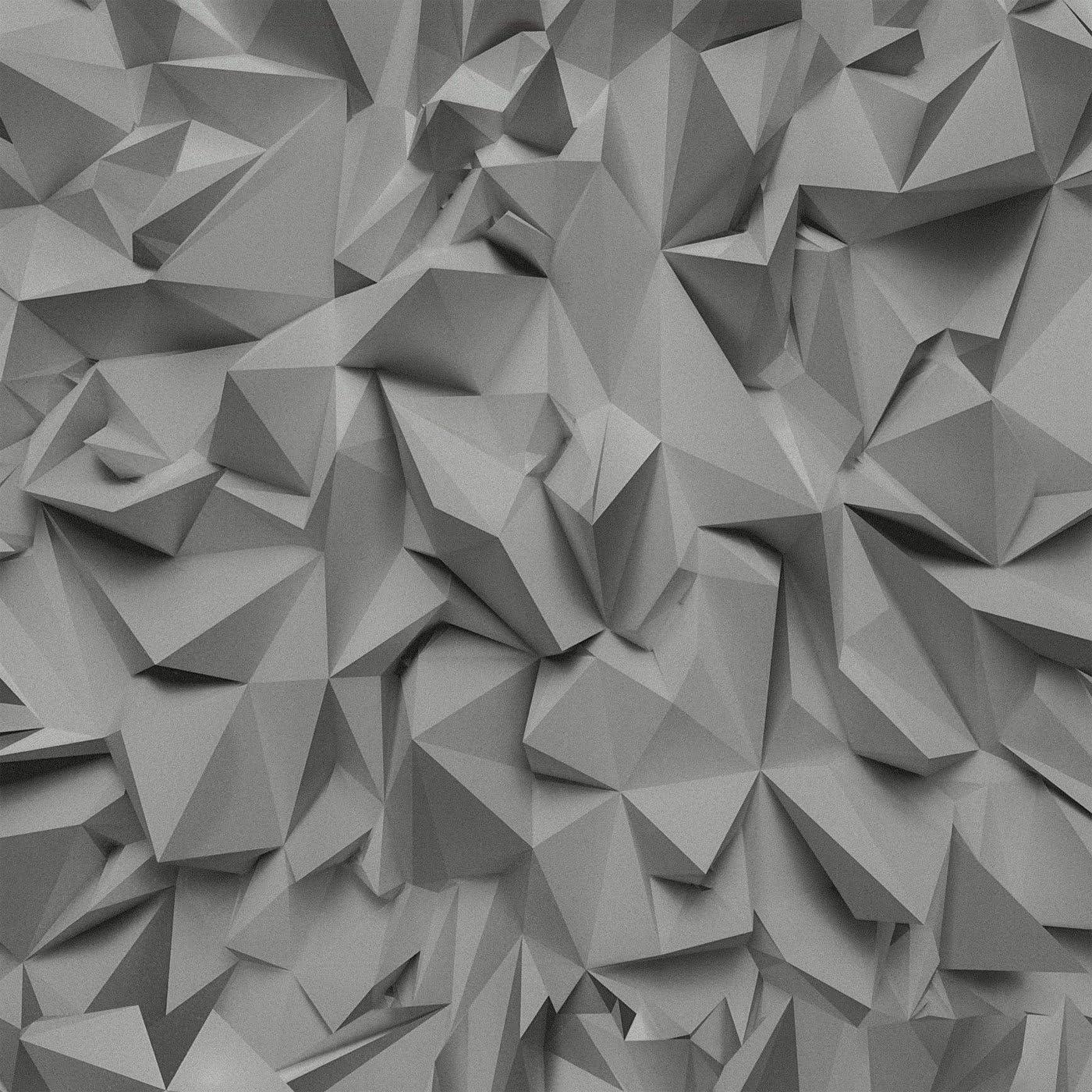3D Effect Grey Silver Black Futuristic Metallic Vinyl Wallpaper