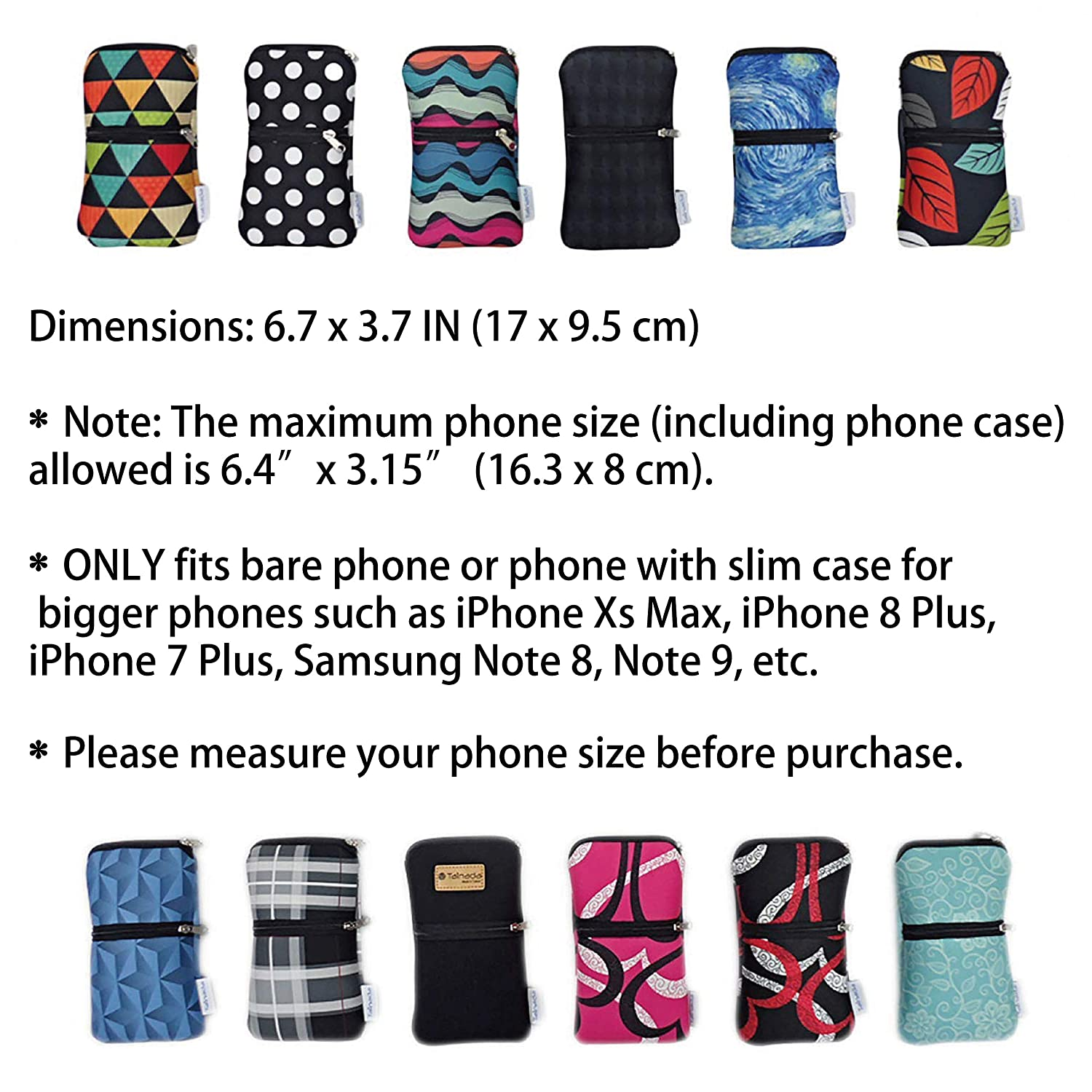f876c44363a9b5 Amazon.com: Tainada Mobile Phone Neoprene Shockproof Two Zippered Sleeve Case  Bag Pouch with Carabiner, Neck Lanyard Strap, Belt Loop Holster for iPhone  Xs, ...
