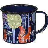 Folklore Enamel Coffee Mug, Night Design, Blue (14 Ounces)