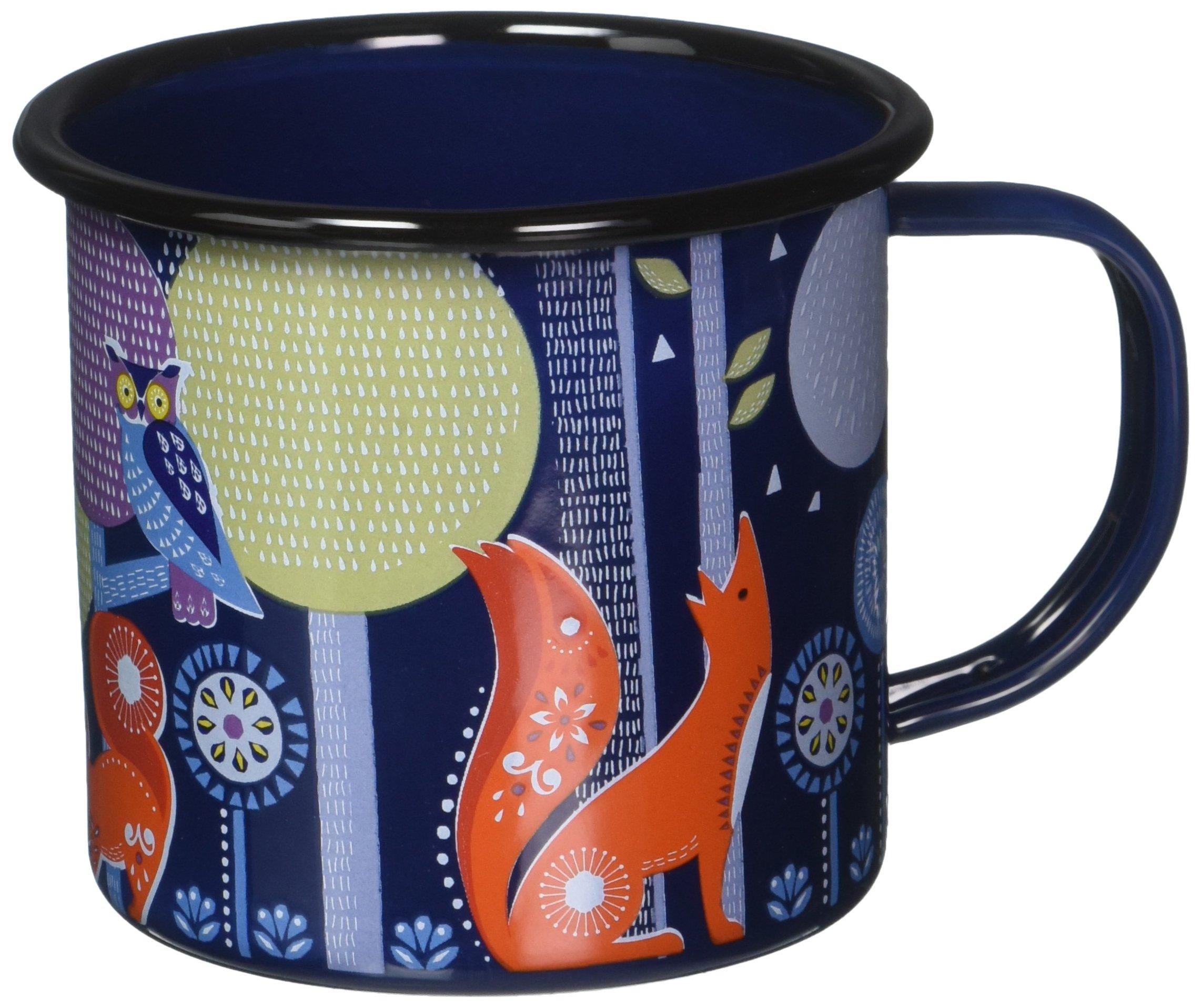 Folklore Enamel Camping Coffee Mug, Night Design, Blue (14 Ounces)