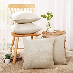 Deconovo Decorative Cushion Cover for Patio Chair Faux Linen Square Throw Pillow Case Sets of 4 18x18 inch Cream