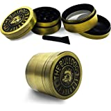 Bodawu Spice Vanilla Grinder with Pollen Catcher Dog Head Pattern Metal Gold,Suitable for Grinding Spices and Herbs