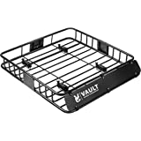 "Vault Cargo Management Universal Roof Basket by Heavy Duty Cargo Roof Carrier Rack ideal for hauling luggage, spare tire, and camping gear - Roof Rack for SUV/Truck/Car (L 44"" x W 39"" x H 5"")"