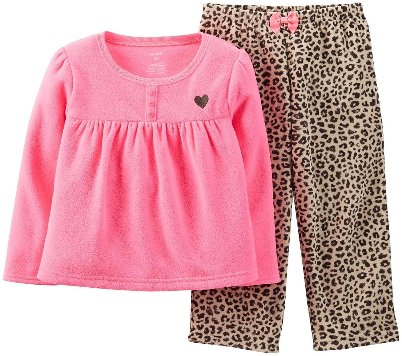 Leopard Carters Baby Girls 2 Piece Fleece PJ Set Baby