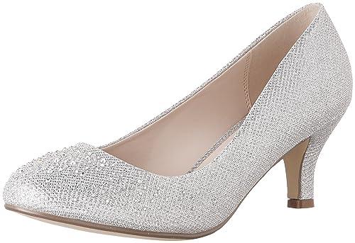 0de8877a4 Bonnibel Wonda-1 Womens Round Toe Low Heel Glitter Slip On Dress Pumps  Silver 5