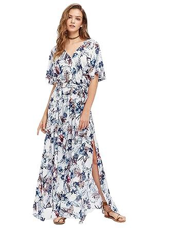 d1e25c65940d Image Unavailable. Image not available for. Color  Milumia Women s Boho  Split Tie-Waist Vintage Print Maxi Dress Small Multicolor-Blue