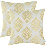 Pack of 2 CaliTime Cushion Covers Throw Pillow Cases Shells Both Sides, Vintage Damask Floral, 18 X 18 Inches, Gold