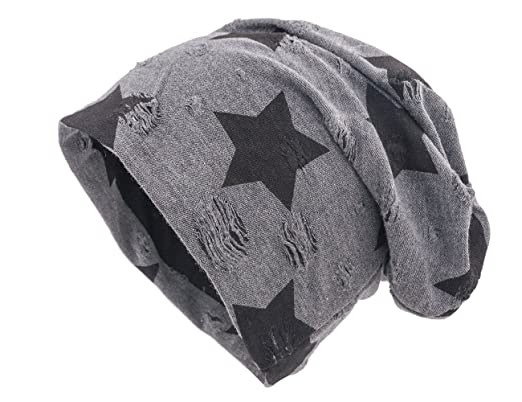 shenky Distressed   Destroyed Star Beanie Hat - Charcoal - One-Size ... a0ade1056278