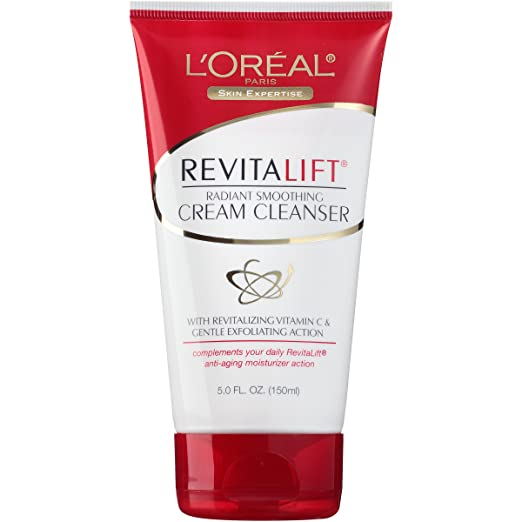 Amazon.com : LOréal Paris Revitalift Radiant Smoothing Cream Cleanser, 5 fl. oz. : Facial Cleansing Creams : Beauty