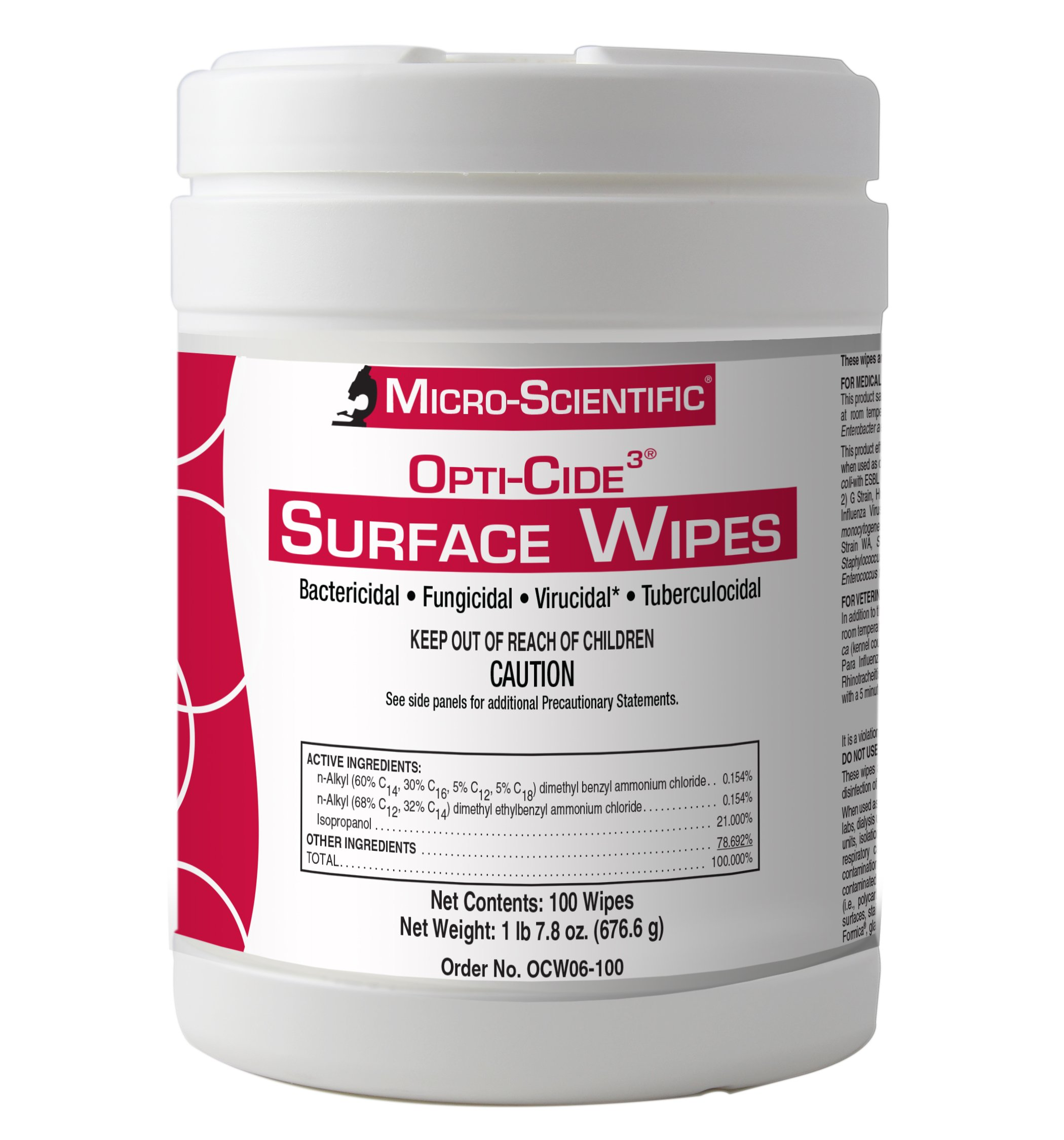 Micro-Scientific Opti-Cide3 Healthcare Grade Disinfectant Cleaner Surface Wipes