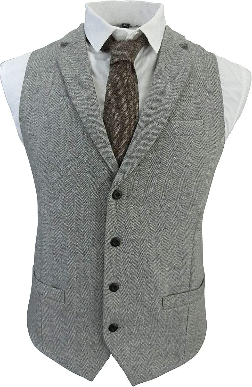 Men's 4 Button Buckle Wool Herringbone Tweed Custom Collar Business Suit Vest