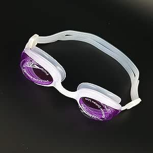 نظارة سباحة مقاومة للضباب برؤية عالية الوضوح HD للكبار من جريلونج أبيض والعدسة بنفسجية