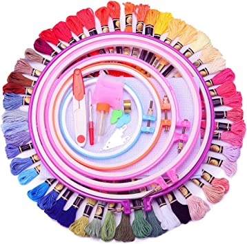 50 Colors Full Range of Embroidery Starter Kit Cross Stitch Tool Kit Including