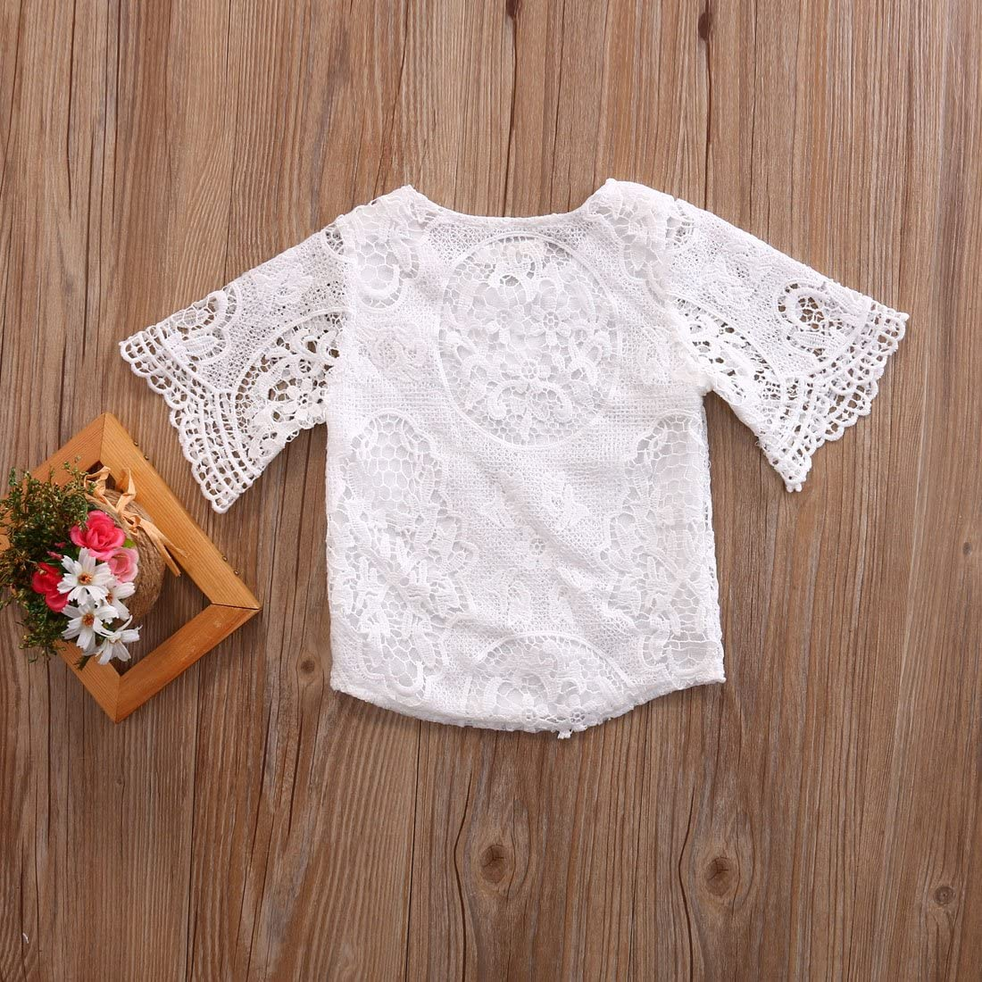 3M-3Y Kids Baby Girls Lace Hollow Tops T-Shirt 1//2 Sleeve Blouse White Outfit Set