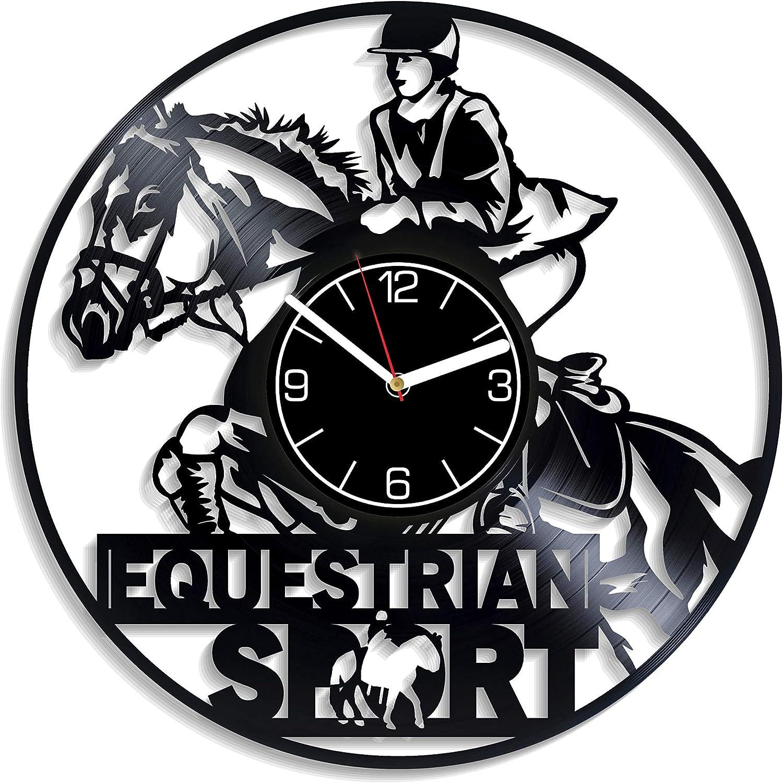 Kovides Equestrian Sport Vinyl Record Wall Clock Equestrian Sport Vinyl Clock Gift for Men Horse Riding Wall Clock Modern Sport Gift Horse Riding Clock Horse Riding Wall Art Sport Home Decor