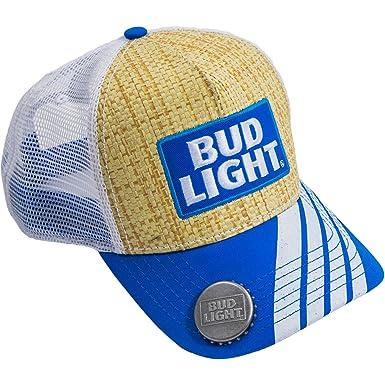 bud light baseball hat lime cap bottle opener straw trucker blue