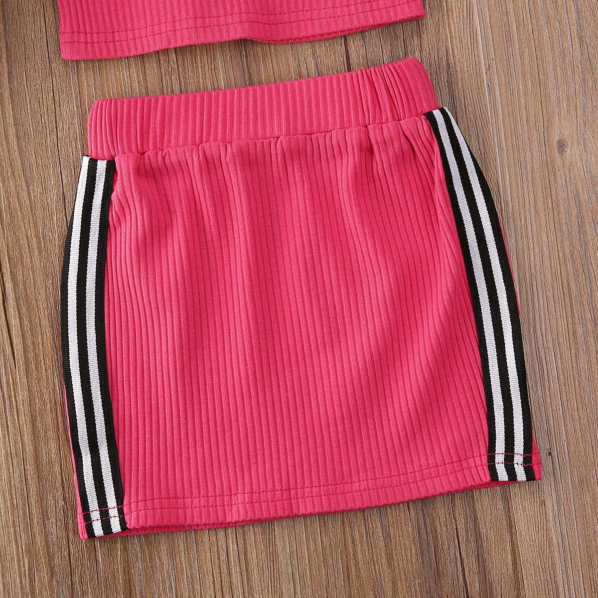 Fepege Toddler Baby Girls Sleeveless Halter Tank Crop Tops and A-line Skirt Outfits Set