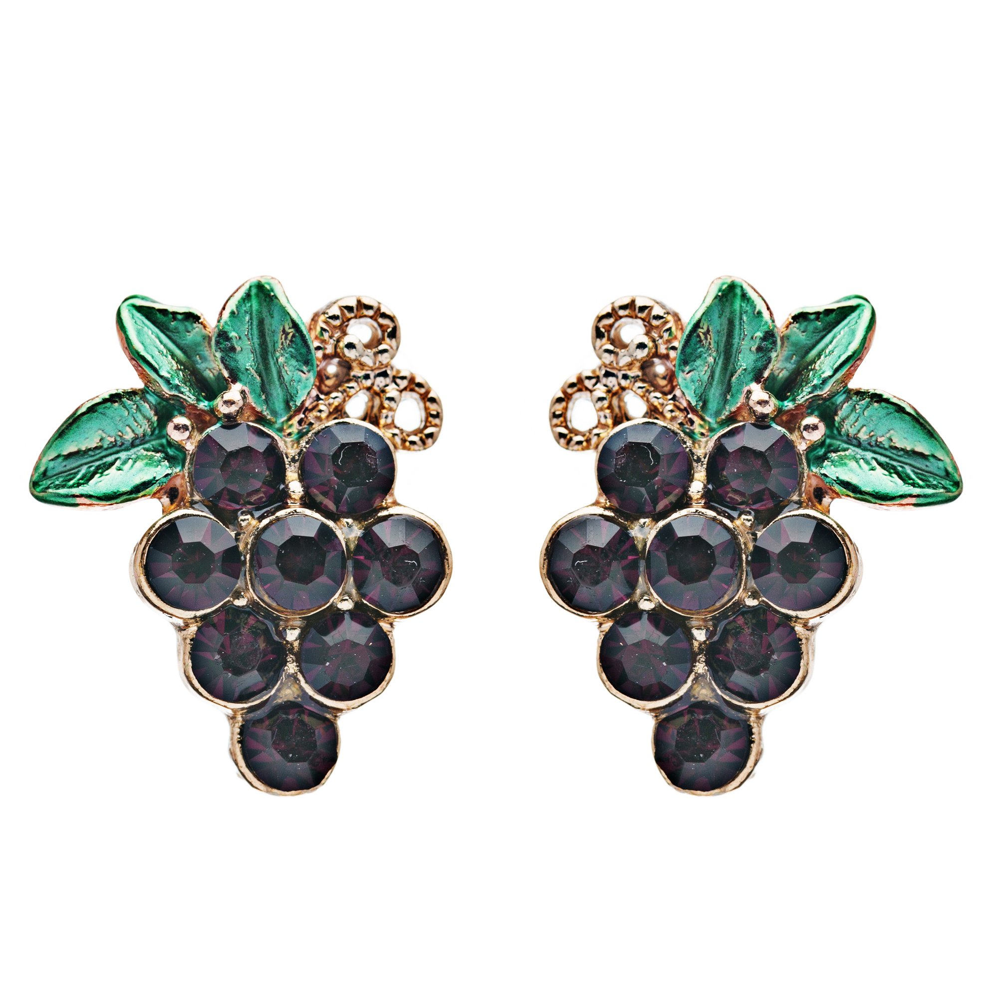 ACCESSORIESFOREVER Adorable Crystal Rhinestone Grape Fruit Charm Stud Post Earring E489 Gold Purple