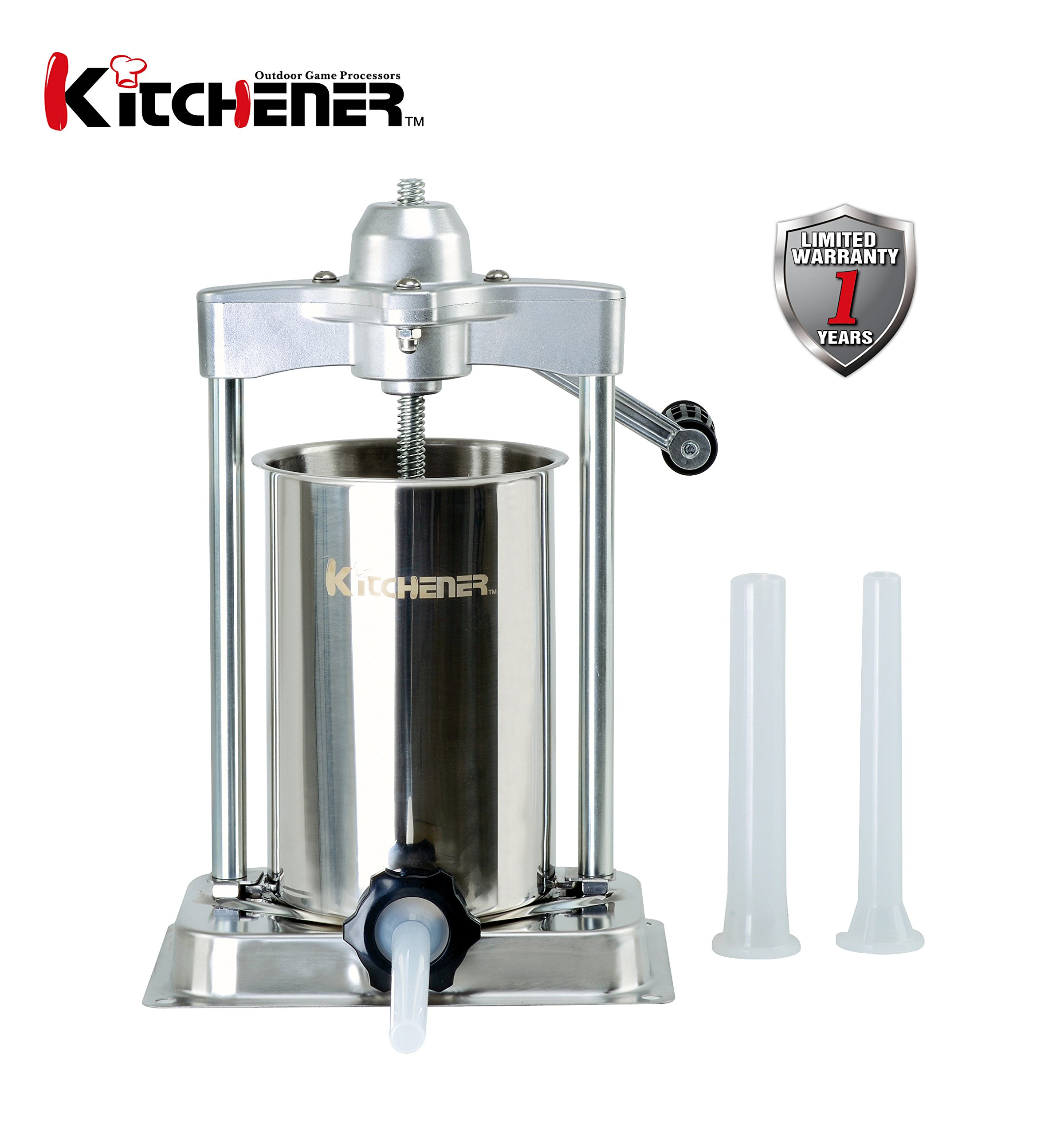 KITCHENER- Heavy Duty Stainless Steel Vertical Sausage Stuffer/Filler/Maker with 3 Stuffing Tubes (Heavy Duty: 10-Lbs)
