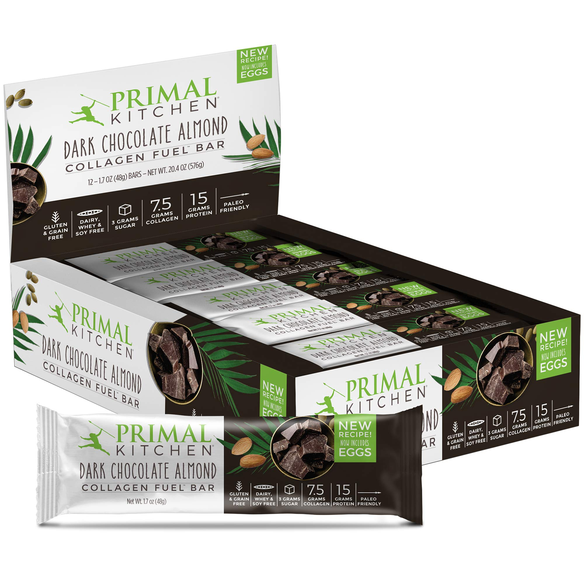 Primal Kitchen - Dark Chocolate Almond Collagen Protein Bars, 12g of Protein, Paleo Approved (Pack of 12, 1.7 oz) by Primal Kitchen