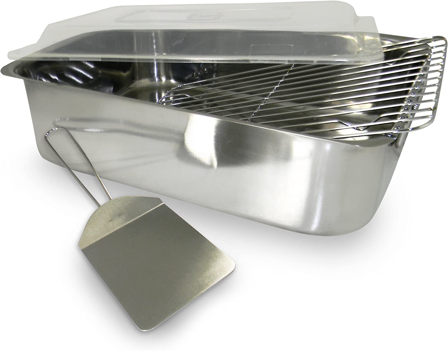 ExcelSteel 4-Piece Stainless Roaster with Cover Rack and Spatula