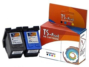 TS-Print Set de 2 cartouches d encre pour HP-21-XL noir black + HP ... 98628c4ec344