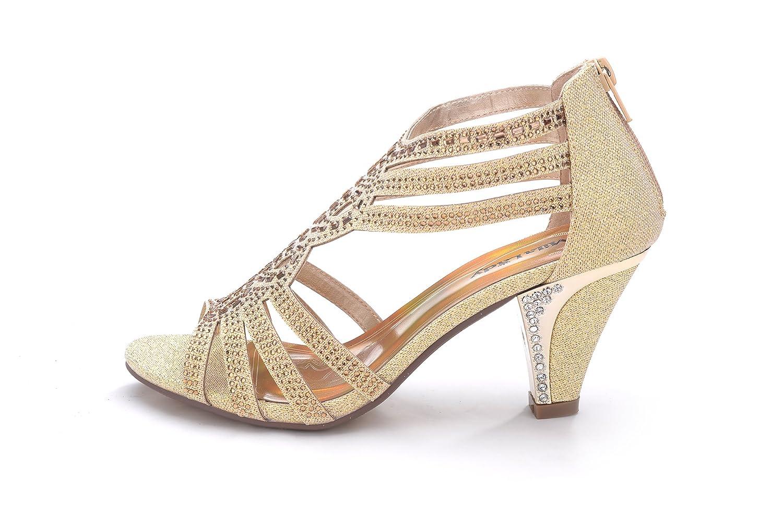 7b95f237e Amazon.com   Mila Lady Women's Lexie Crystal Dress Heeled Sandals (Kimi 25)    Heeled Sandals