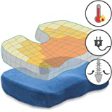 ChiroDoc Coccyx Seat Cushion with Removable Heating Pad - Powered by AC Wall Adapter - Perfect For Coccyx & Tailbone Pain Relief (Sciatica) - Reduce Lower Back Pain From Sitting All Day