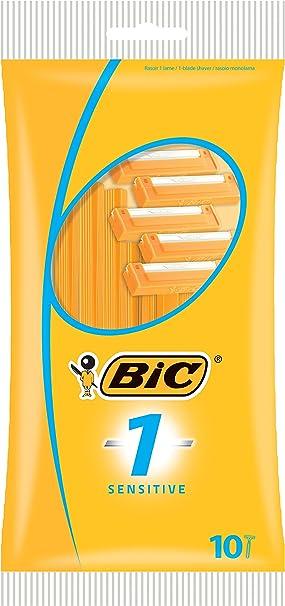 Paquete de 10 afeitadoras BIC 1, sensibles.: Amazon.es: Salud y ...