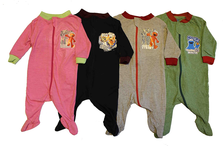 Sesame Street Elmo Cotton Baby Infant Sleepers Pajamas 3PK