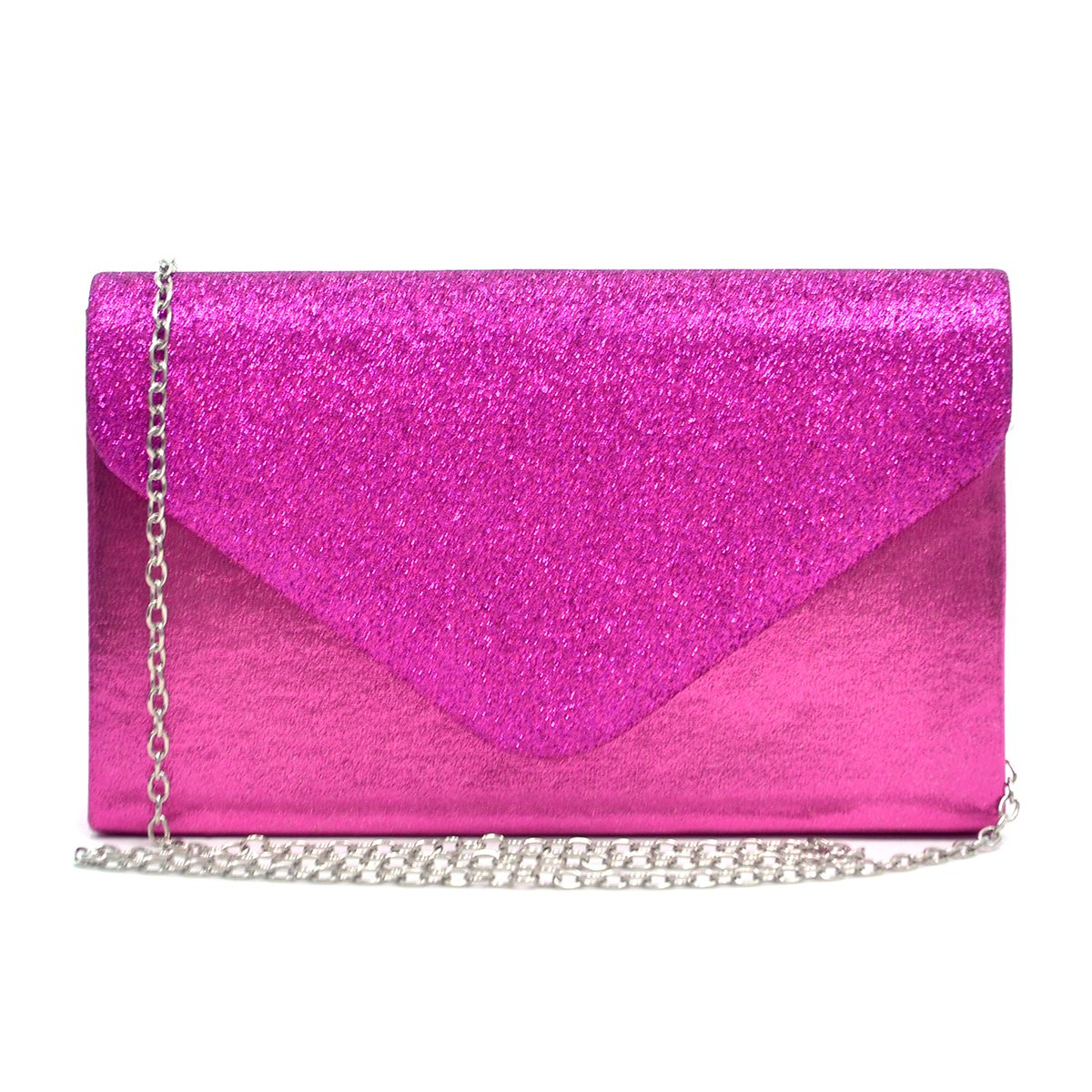 Womens Envelope Flap Clutch Handbag Evening Bag Purse Glitter Frosted Sequin Party Hot Pink