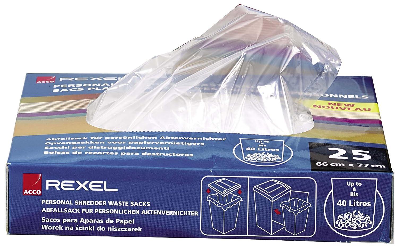 Rexel Sacchetti Riciclabili per Distruggidocumenti di Piccoli Uffici, Capacità 40L, Pacco da 100, 40060 Capacità 40L ACCO Brands 50434X