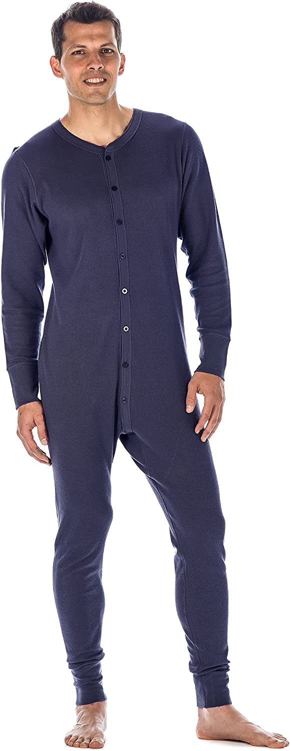 Noble Mount Mens Waffle Knit Thermal Union Suit