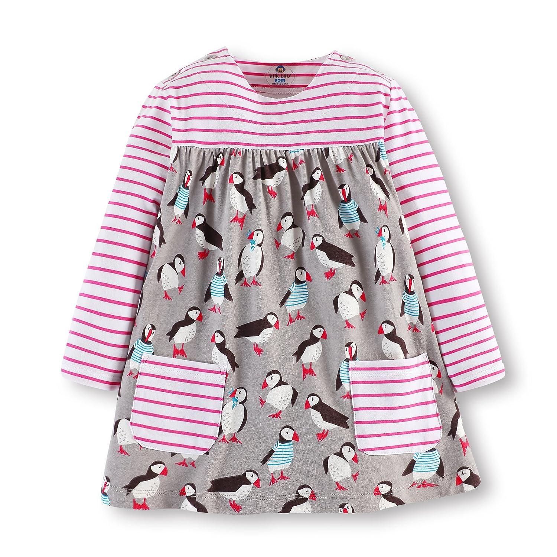 Little Girls' Cotton Cartoon Print Long Sleeve Dresses by Jobakids