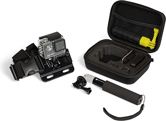 Navitech 60-in-1 Action Camera Accessories Combo Kit with EVA Case Compatible with The ThiEYE T5 Pro Action Camera