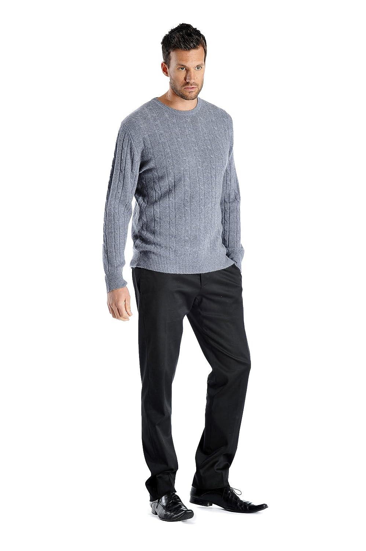 3 Colors, Sizes: S//M//L//XL Cashmere Boutique Mens 100/% Pure Cashmere Cable Sweater in Crew Neck