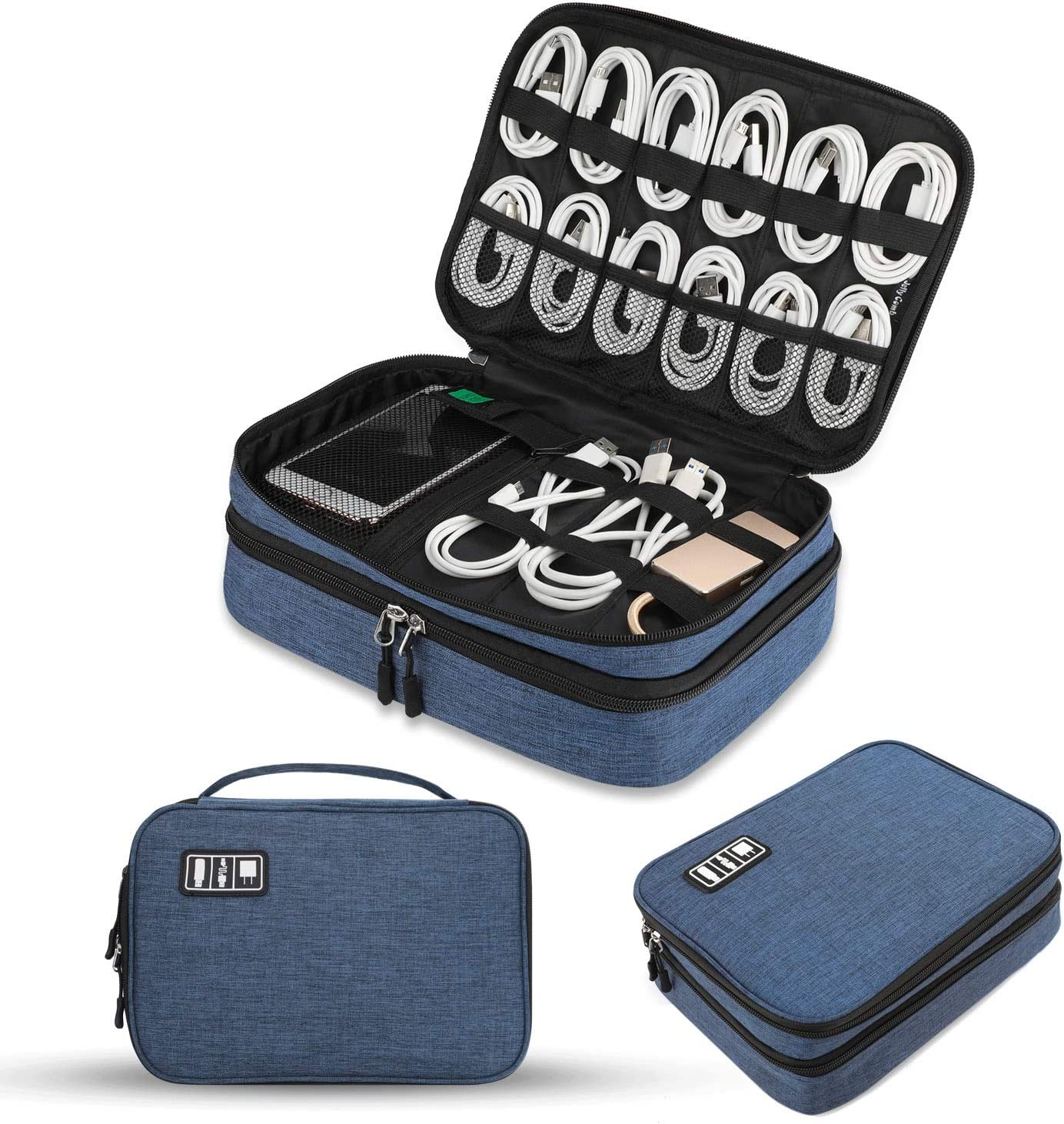 Electronics Organizer, Jelly Comb Electronic Accessories Cable Organizer Bag Double Layer Travel Cable Storage Bag for Cables, Laptop Charger, Tablet (Up to 11'') and More-Thick Large(Black and Blue)