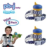 PBnJ Baby SippyPal Sippy Cup Holder Strap Leash Tether (Blue/Grape Chevron 2-Pack)